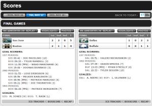 NHL.com Scores