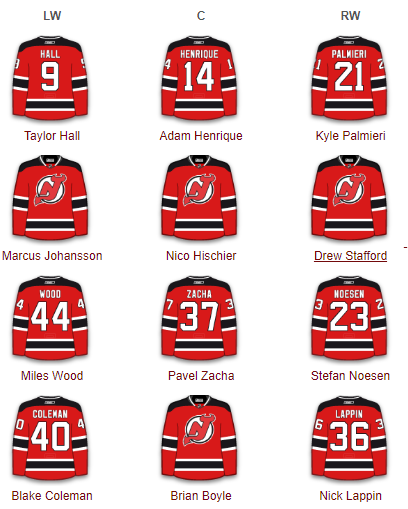 New Jersey Devils Forwards 2017-18