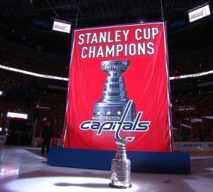 Washington Capitals Raising Stanley Cup Banner