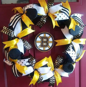 Boston Bruins Hockey Wreath